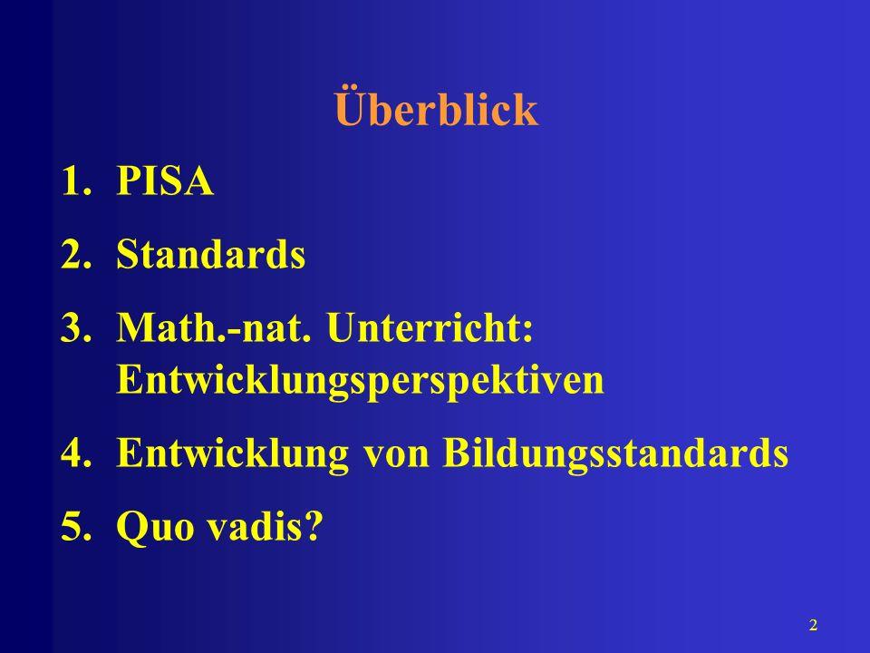 2 Überblick 1.PISA 2.Standards 3.Math.-nat. Unterricht: Entwicklungsperspektiven 4.Entwicklung von Bildungsstandards 5.Quo vadis?