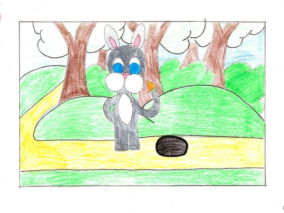 Es war eine Weile vergangen, als der Hase aufwachte. Er dachte: Jetzt muss ich aber laufen!