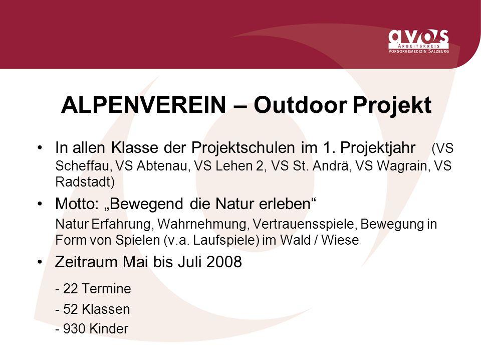 ALPENVEREIN – Outdoor Projekt In allen Klasse der Projektschulen im 1.
