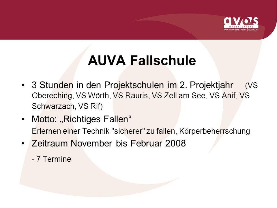 AUVA Fallschule 3 Stunden in den Projektschulen im 2.