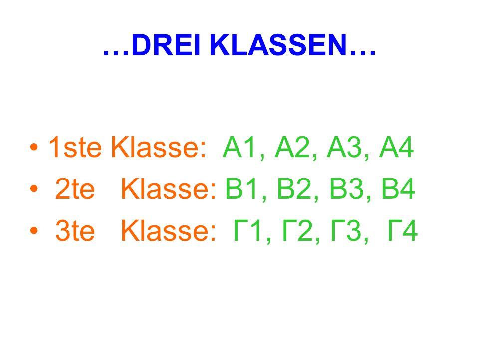 …DREI KLASSEN… 1ste Klasse: A1, A2, A3, A4 2te Klasse: B1, B2, B3, B4 3te Klasse: Γ1, Γ2, Γ3, Γ4
