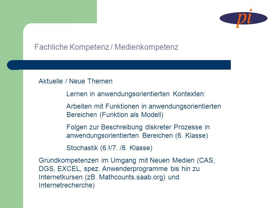Fachliche Kompetenz / Medienkompetenz Aktuelle / Neue Themen Lernen in anwendungsorientierten Kontexten: Arbeiten mit Funktionen in anwendungsorientie