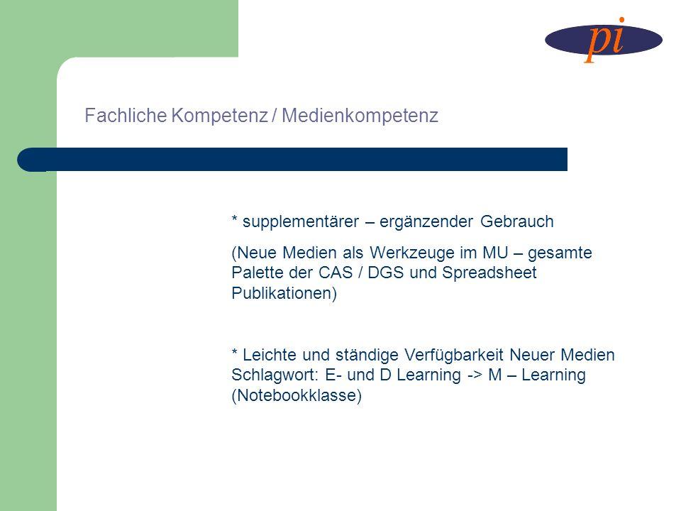 Fachliche Kompetenz / Medienkompetenz * supplementärer – ergänzender Gebrauch (Neue Medien als Werkzeuge im MU – gesamte Palette der CAS / DGS und Spr