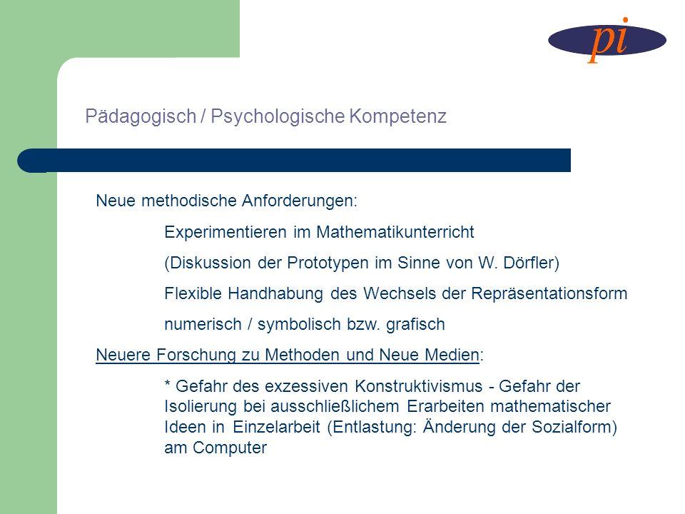 Neue methodische Anforderungen: Experimentieren im Mathematikunterricht (Diskussion der Prototypen im Sinne von W. Dörfler) Flexible Handhabung des We