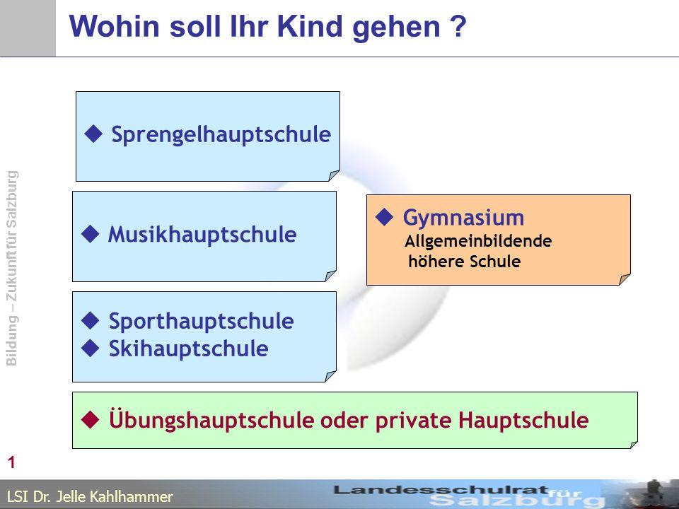 LSI Dr. Jelle Kahlhammer Bildung – Zukunft für Salzburg Wohin soll Ihr Kind gehen .
