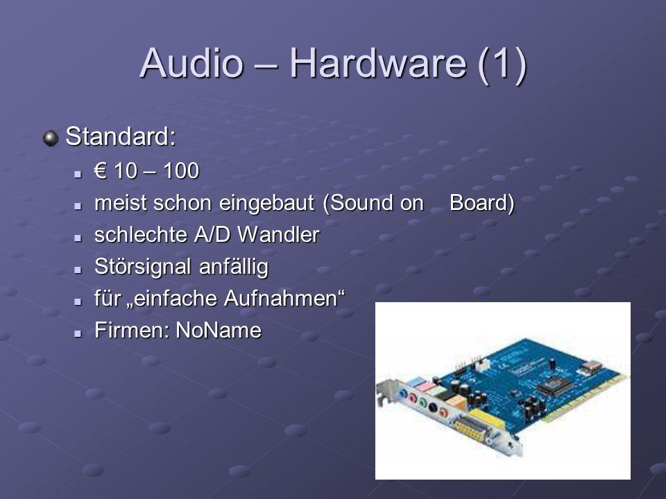 Audio – Hardware (2) Amateur: A/D Wandler in externen Gehäuse A/D Wandler in externen Gehäuse Gute A/D Wandler Gute A/D Wandler Firmen: Soundblaster, Terratec, Creative Firmen: Soundblaster, Terratec, Creative