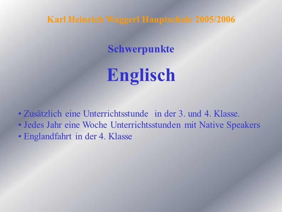 Schwerpunkte Englisch Zusätzlich eine Unterrichtsstunde in der 3. und 4. Klasse. Jedes Jahr eine Woche Unterrichtsstunden mit Native Speakers Englandf