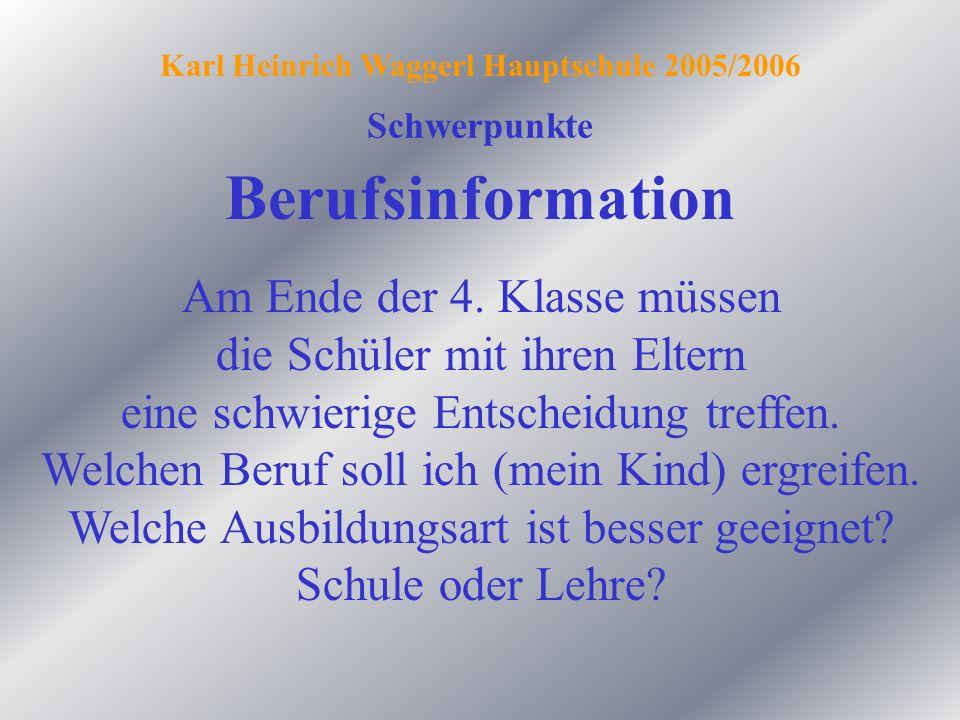 Berufsinformation Schwerpunkte Karl Heinrich Waggerl Hauptschule 2005/2006 Am Ende der 4. Klasse müssen die Schüler mit ihren Eltern eine schwierige E