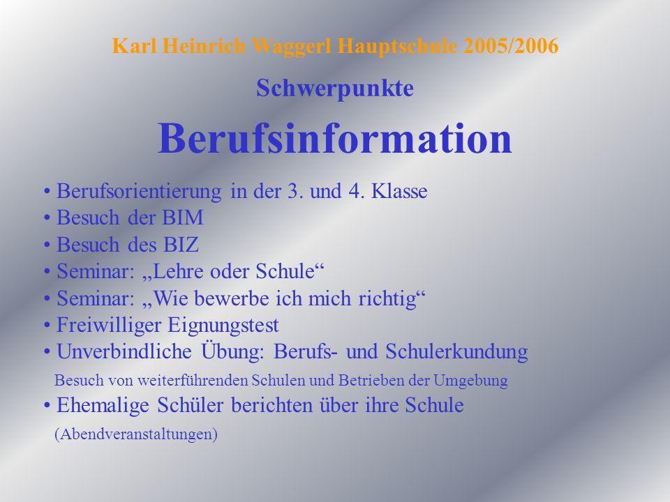 Berufsinformation Schwerpunkte Karl Heinrich Waggerl Hauptschule 2005/2006 Berufsorientierung in der 3. und 4. Klasse Besuch der BIM Besuch des BIZ Se