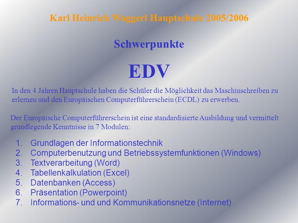 Schwerpunkte Karl Heinrich Waggerl Hauptschule 2005/2006 EDV In den 4 Jahren Hauptschule haben die Schüler die Möglichkeit das Maschinschreiben zu erl