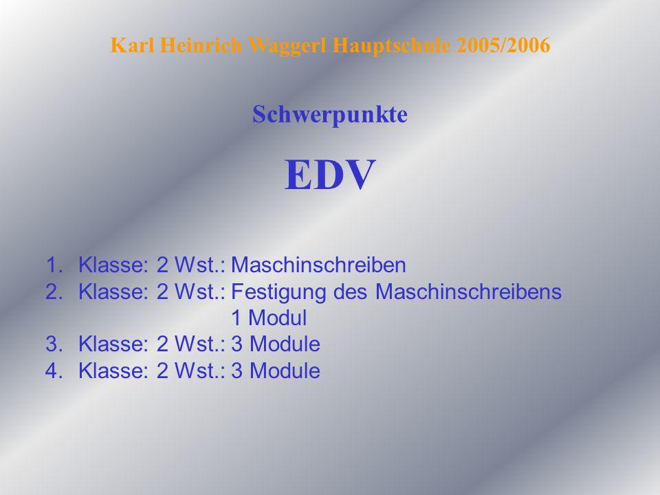 Schwerpunkte Karl Heinrich Waggerl Hauptschule 2005/2006 EDV 1.Klasse: 2 Wst.: Maschinschreiben 2.Klasse: 2 Wst.: Festigung des Maschinschreibens 1 Mo