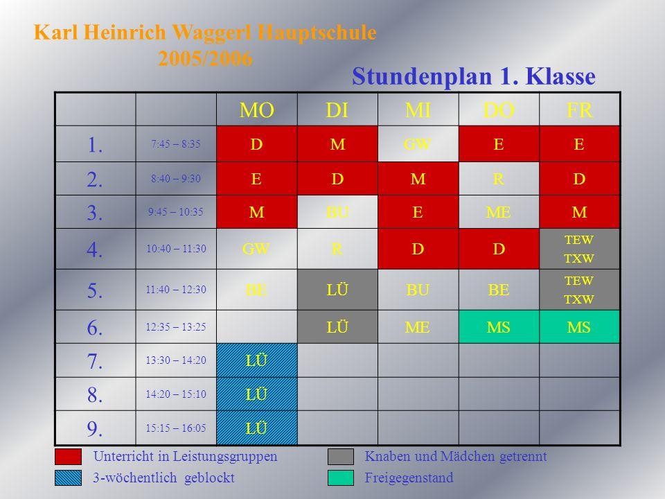Stundenplan 1. Klasse MODIMIDOFR 1. 7:45 – 8:35 DMGWEE 2. 8:40 – 9:30 EDMRD 3. 9:45 – 10:35 MBUEMEM 4. 10:40 – 11:30 GWRDD TEW TXW 5. 11:40 – 12:30 BE