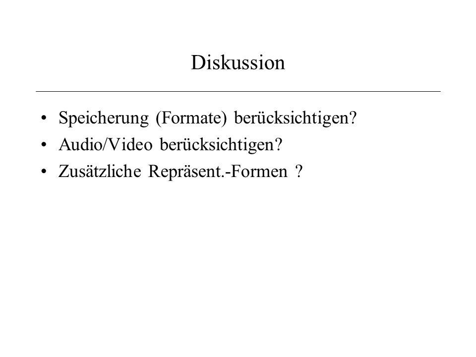 Diskussion Speicherung (Formate) berücksichtigen.Audio/Video berücksichtigen.