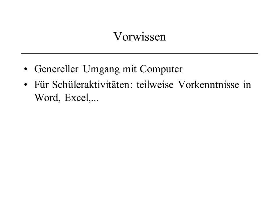 Vorwissen Genereller Umgang mit Computer Für Schüleraktivitäten: teilweise Vorkenntnisse in Word, Excel,...