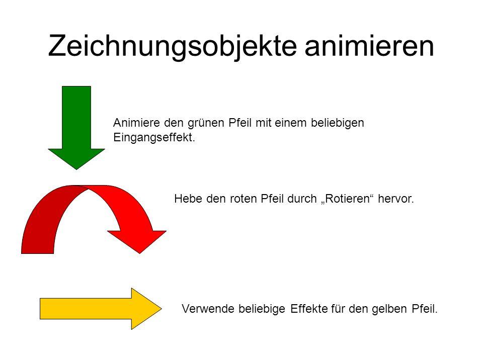 Zeichnungsobjekte animieren Animiere den grünen Pfeil mit einem beliebigen Eingangseffekt. Hebe den roten Pfeil durch Rotieren hervor. Verwende belieb