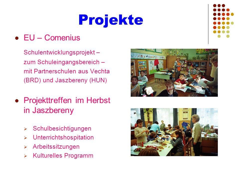 Projekte EU – Comenius Schulentwicklungsprojekt – zum Schuleingangsbereich – mit Partnerschulen aus Vechta (BRD) und Jaszbereny (HUN) Projekttreffen i