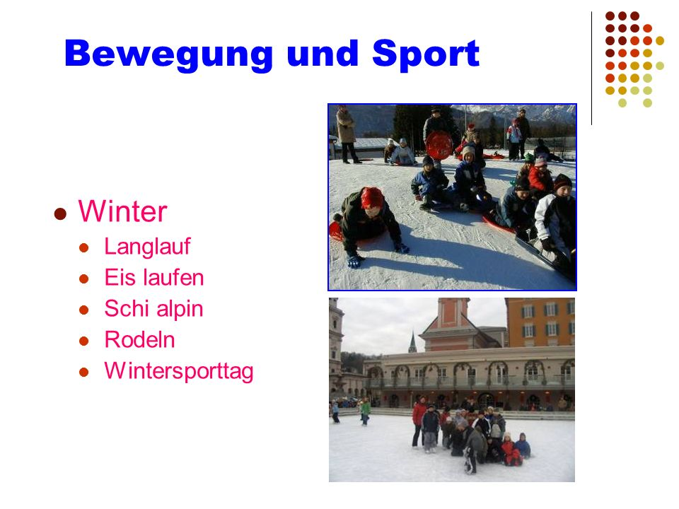 Bewegung und Sport Winter Langlauf Eis laufen Schi alpin Rodeln Wintersporttag