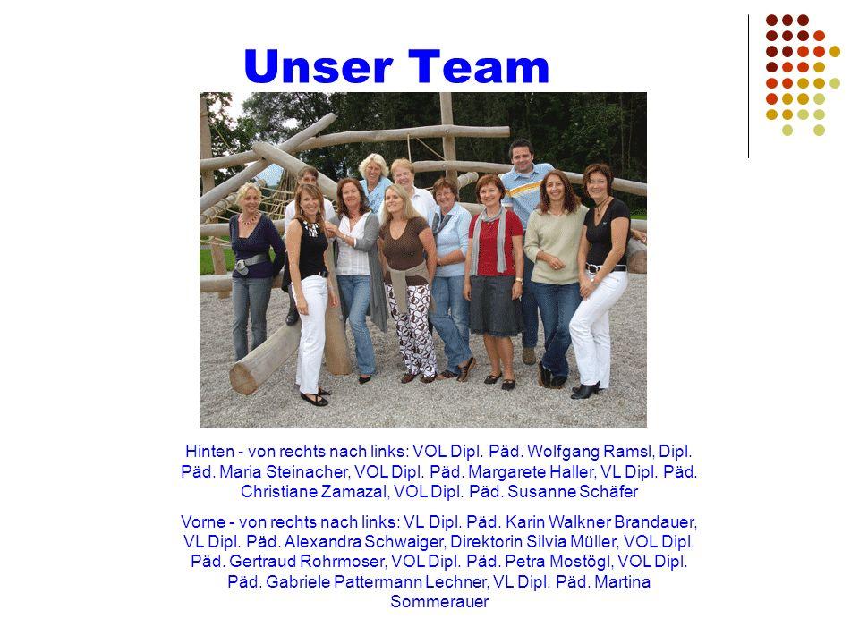 Unser Team Hinten - von rechts nach links: VOL Dipl. Päd. Wolfgang Ramsl, Dipl. Päd. Maria Steinacher, VOL Dipl. Päd. Margarete Haller, VL Dipl. Päd.