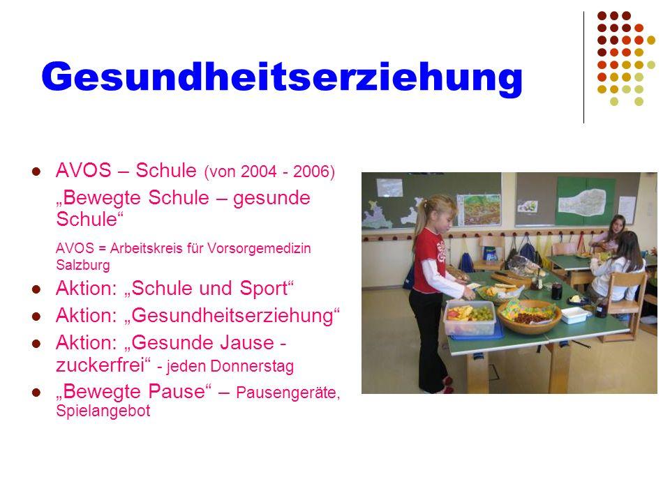 Gesundheitserziehung AVOS – Schule (von 2004 - 2006) Bewegte Schule – gesunde Schule AVOS = Arbeitskreis für Vorsorgemedizin Salzburg Aktion: Schule u