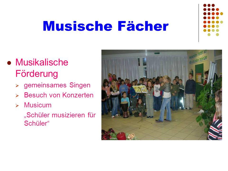 Musische Fächer Musikalische Förderung gemeinsames Singen Besuch von Konzerten Musicum Schüler musizieren für Schüler