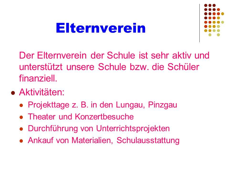 Elternverein Der Elternverein der Schule ist sehr aktiv und unterstützt unsere Schule bzw. die Schüler finanziell. Aktivitäten: Projekttage z. B. in d