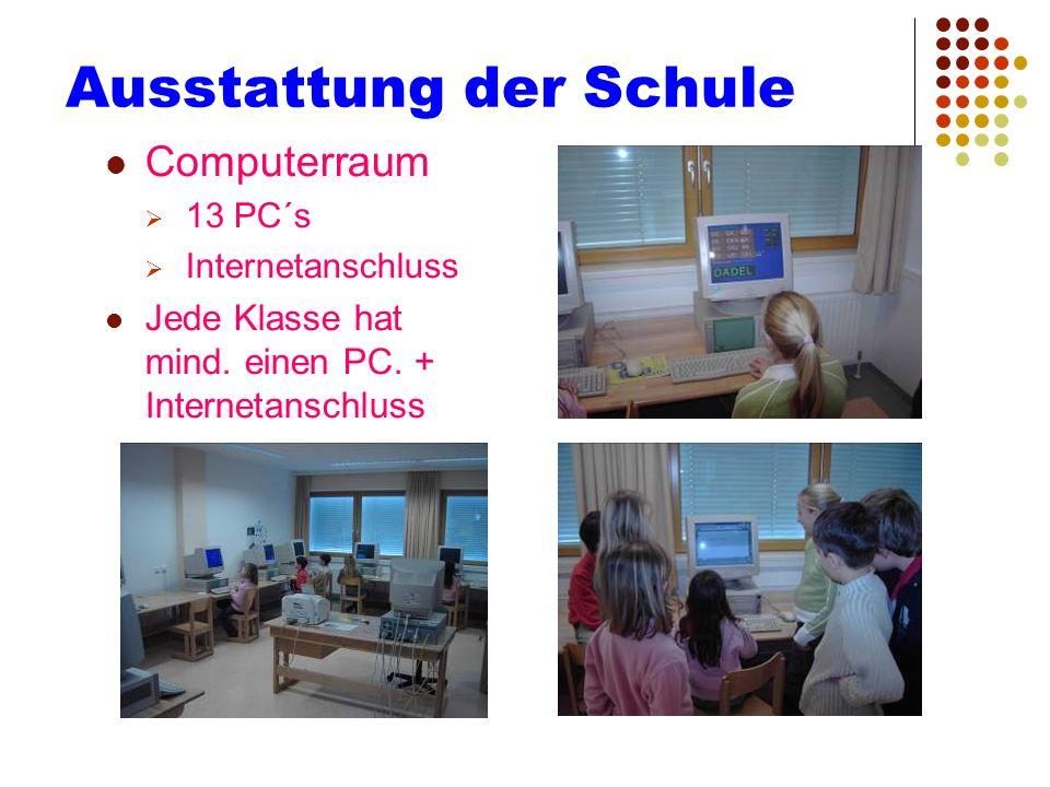 Ausstattung der Schule Computerraum 13 PC´s Internetanschluss Jede Klasse hat mind. einen PC. + Internetanschluss