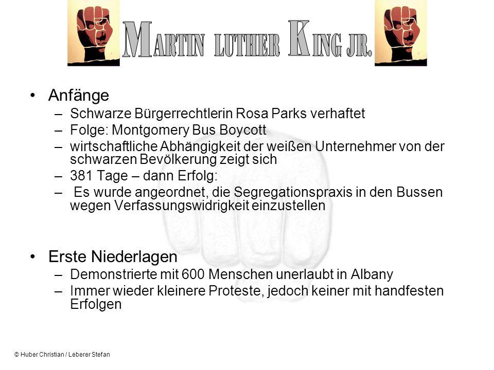 © Huber Christian / Leberer Stefan Anfänge –Schwarze Bürgerrechtlerin Rosa Parks verhaftet –Folge: Montgomery Bus Boycott –wirtschaftliche Abhängigkei