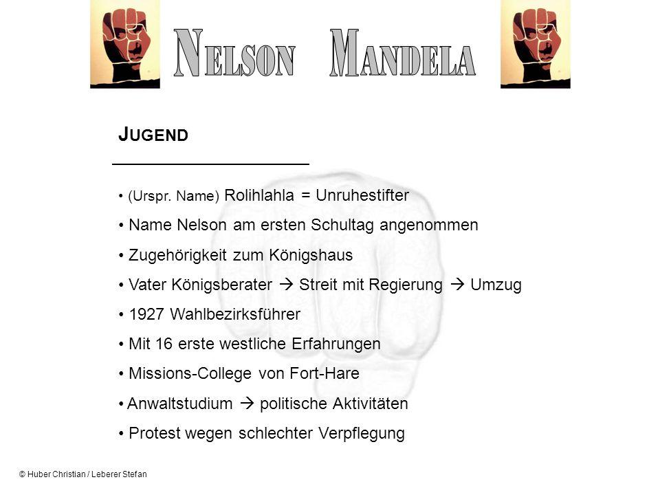 © Huber Christian / Leberer Stefan J UGEND (Urspr. Name) Rolihlahla = Unruhestifter Name Nelson am ersten Schultag angenommen Zugehörigkeit zum Königs
