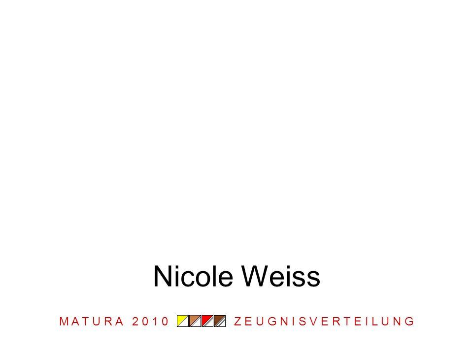 M A T U R A 2 0 1 0 Z E U G N I S V E R T E I L U N G Nicole Weiss