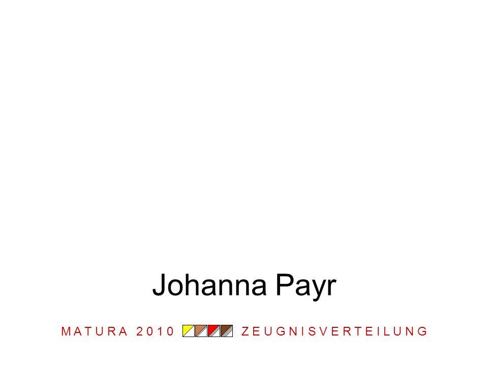 M A T U R A 2 0 1 0 Z E U G N I S V E R T E I L U N G Johanna Payr