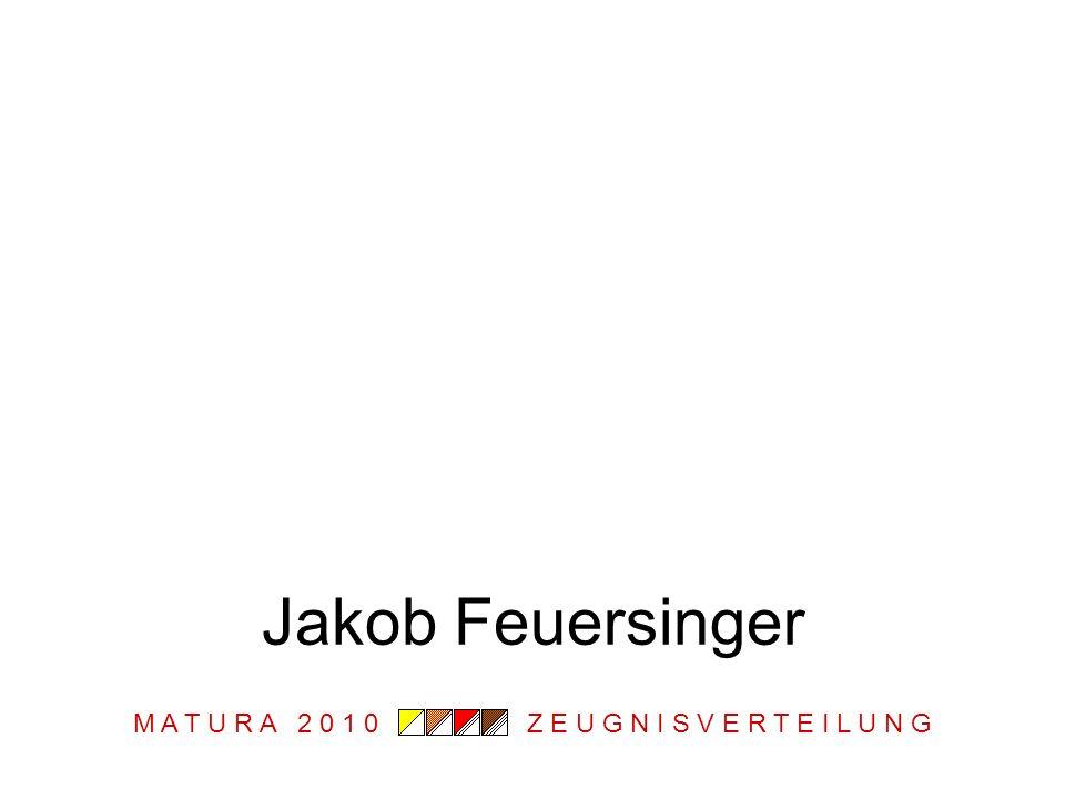 M A T U R A 2 0 1 0 Z E U G N I S V E R T E I L U N G Jakob Feuersinger