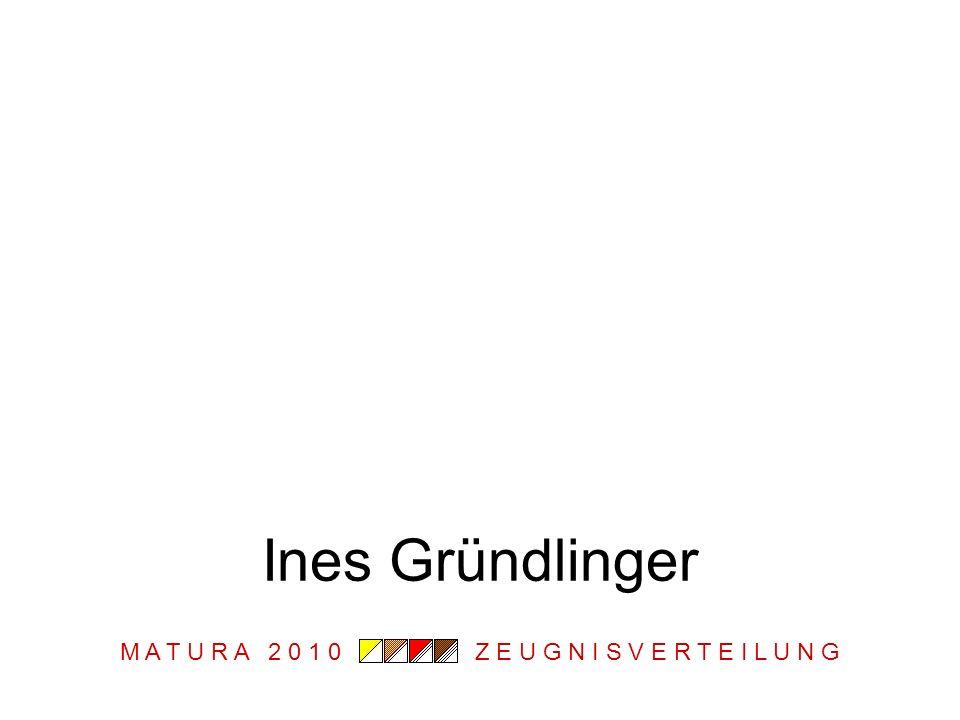 M A T U R A 2 0 1 0 Z E U G N I S V E R T E I L U N G Ines Gründlinger