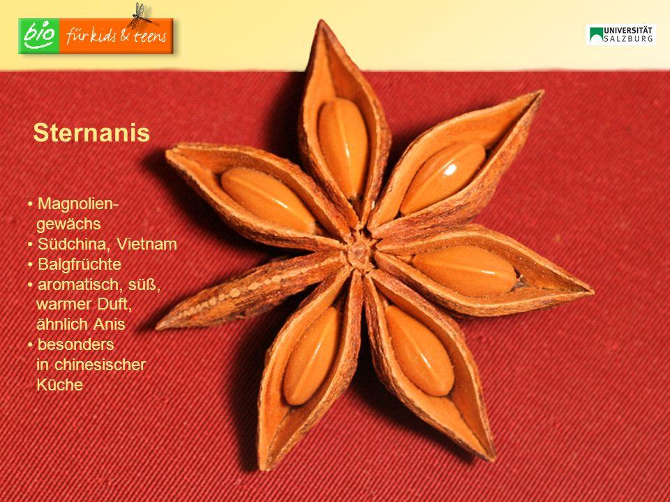 Sternanis Magnolien- gewächs Südchina, Vietnam Balgfrüchte aromatisch, süß, warmer Duft, ähnlich Anis besonders in chinesischer Küche