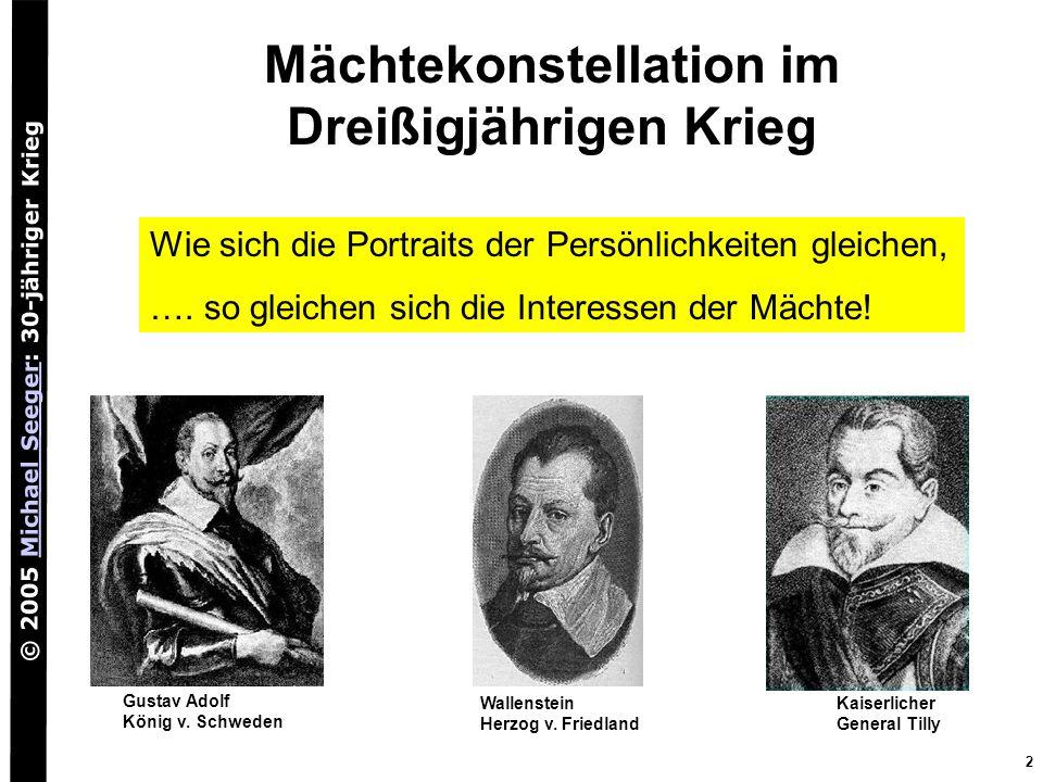 © 2005 Michael Seeger: 30-jähriger KriegMichael Seeger 2 Mächtekonstellation im Dreißigjährigen Krieg Wallenstein Herzog v. Friedland Kaiserlicher Gen