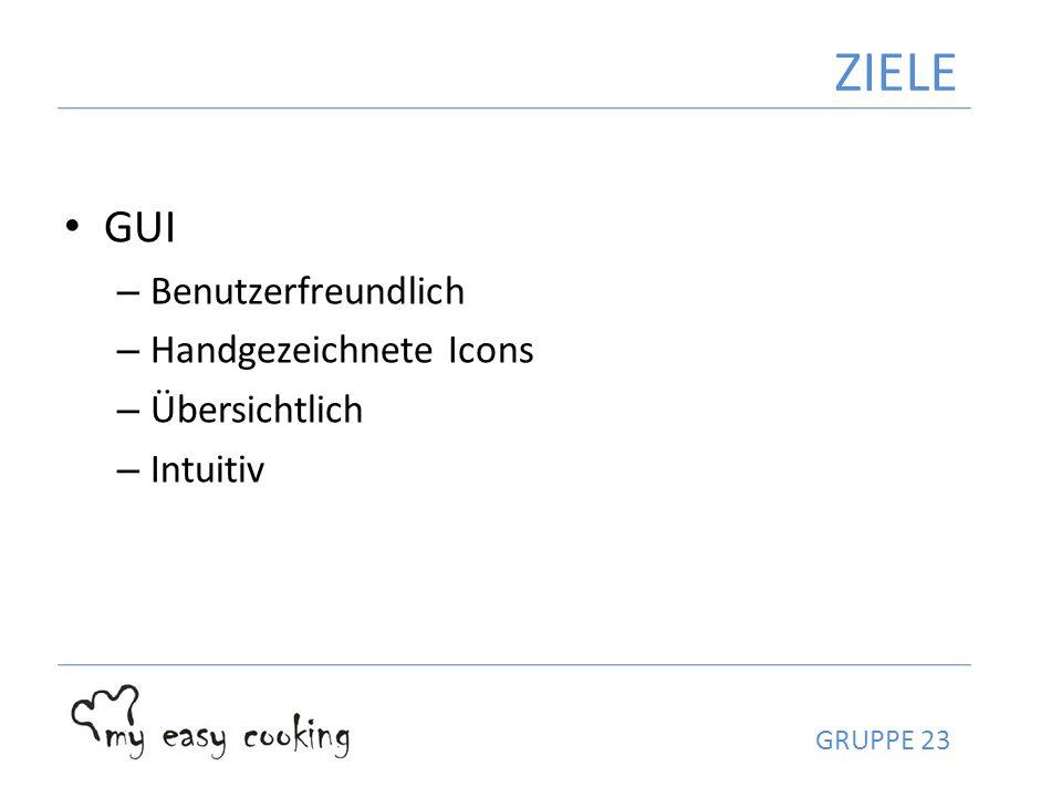 GUI – Benutzerfreundlich – Handgezeichnete Icons – Übersichtlich – Intuitiv ZIELE GRUPPE 23