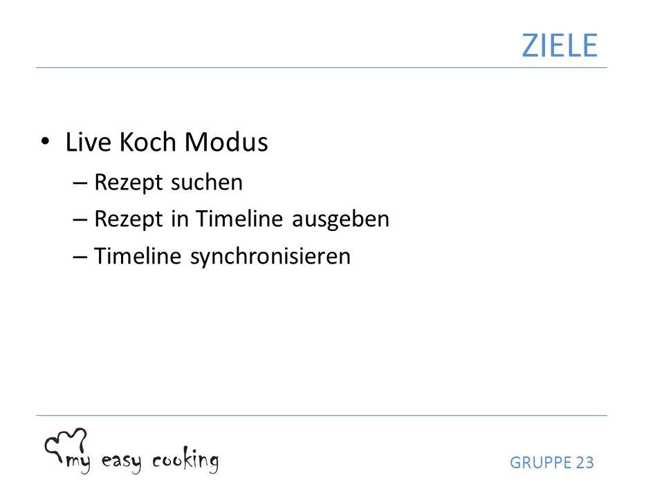 Live Koch Modus – Rezept suchen – Rezept in Timeline ausgeben – Timeline synchronisieren ZIELE GRUPPE 23