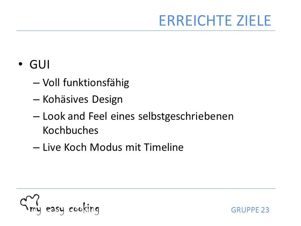 GUI – Voll funktionsfähig – Kohäsives Design – Look and Feel eines selbstgeschriebenen Kochbuches – Live Koch Modus mit Timeline ERREICHTE ZIELE GRUPP