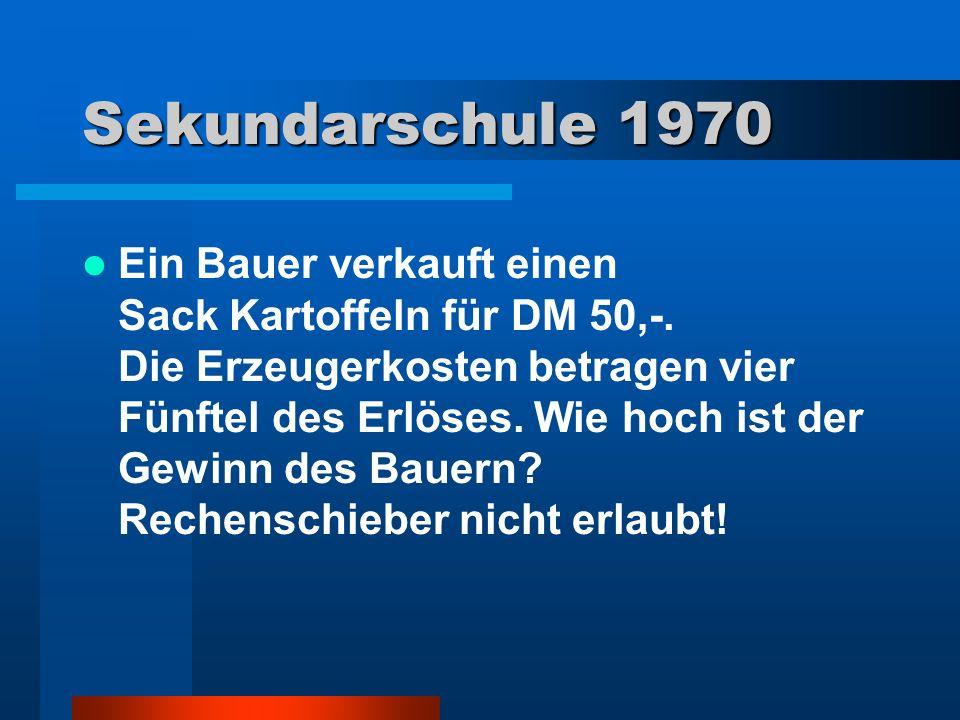 1980 Korrektur der Formulierung (Neuauflage) Ein/e Bauer/in verkauft eine/n Sack/in Kartoffeln/innen einem/er Kunden/in für DM 50,-.
