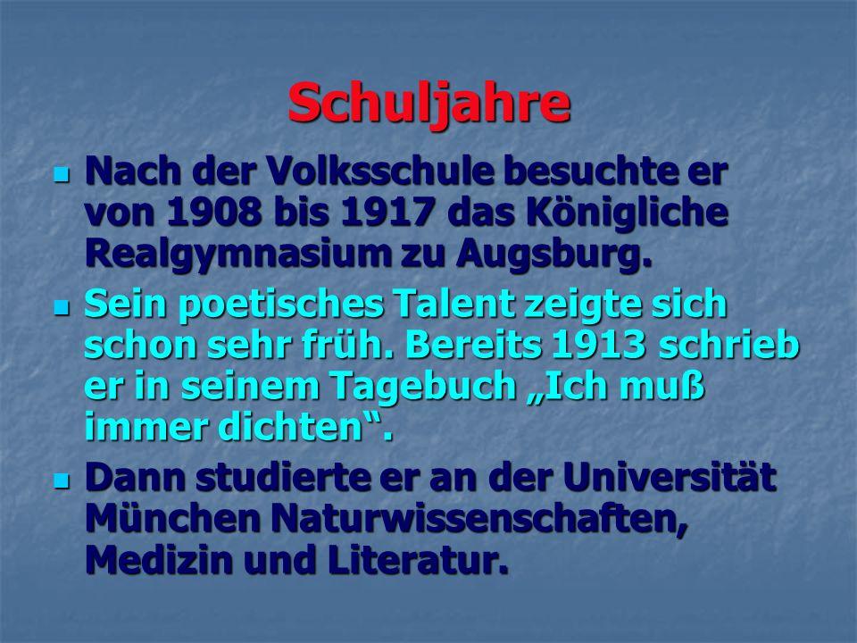 Schuljahre Nach der Volksschule besuchte er von 1908 bis 1917 das Königliche Realgymnasium zu Augsburg. Nach der Volksschule besuchte er von 1908 bis