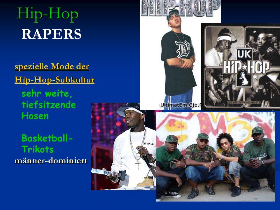 Hip-Hop Hip-Hop RAPERS spezielle Mode der spezielle Mode der Hip-Hop-Subkultur männer-dominiert sehr weite, tiefsitzende Hosen Basketball- Trikots