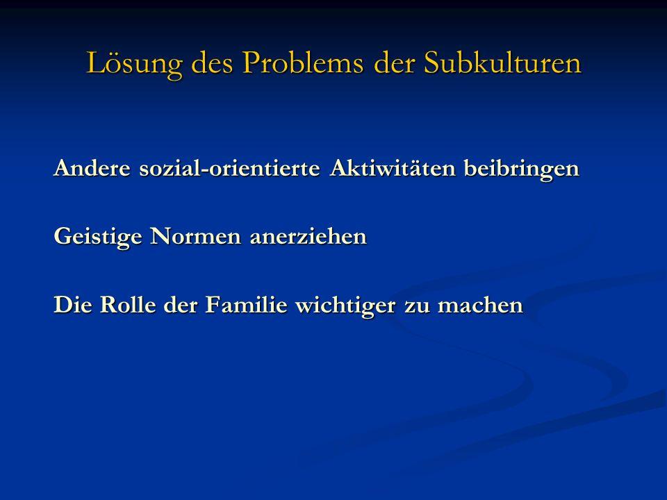 Lösung des Problems der Subkulturen Andere sozial-orientierte Aktiwitäten beibringen Andere sozial-orientierte Aktiwitäten beibringen Geistige Normen
