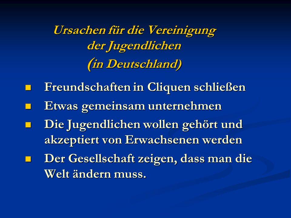 Ursachen für die Vereinigung der Jugendlichen ( in Deutschland) Freundschaften in Cliquen schließen Freundschaften in Cliquen schließen Etwas gemeinsa