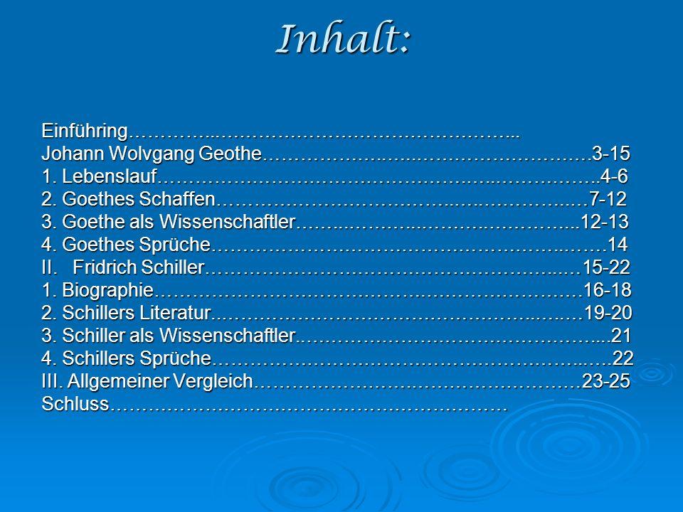 Inhalt: Einführing…………...………………………………………...Johann Wolvgang Geothe………………..…..……………………….3-15 1.