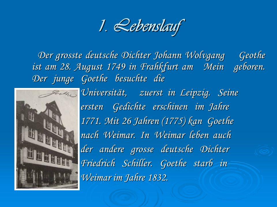 1.Lebenslauf Der grosste deutsche Dichter Johann Wolvgang Geothe ist am 28.