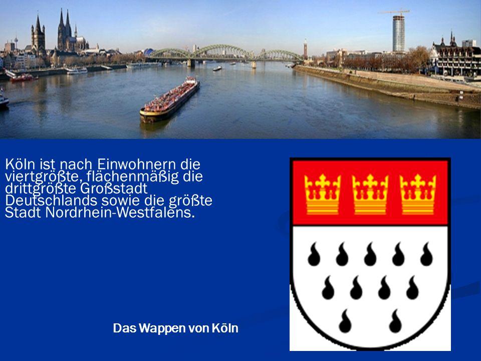 Köln ist nach Einwohnern die viertgrößte, flächenmäßig die drittgrößte Großstadt Deutschlands sowie die größte Stadt Nordrhein-Westfalens. Das Wappen