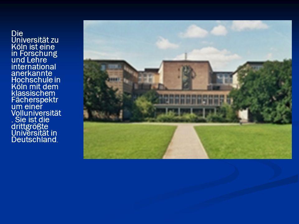 Die Universität zu Köln ist eine in Forschung und Lehre international anerkannte Hochschule in Köln mit dem klassischem Fächerspektr um einer Volluniv
