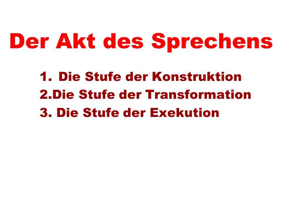 Der Akt des Sprechens 1.Die Stufe der Konstruktion 2.Die Stufe der Transformation 3. Die Stufe der Exekution