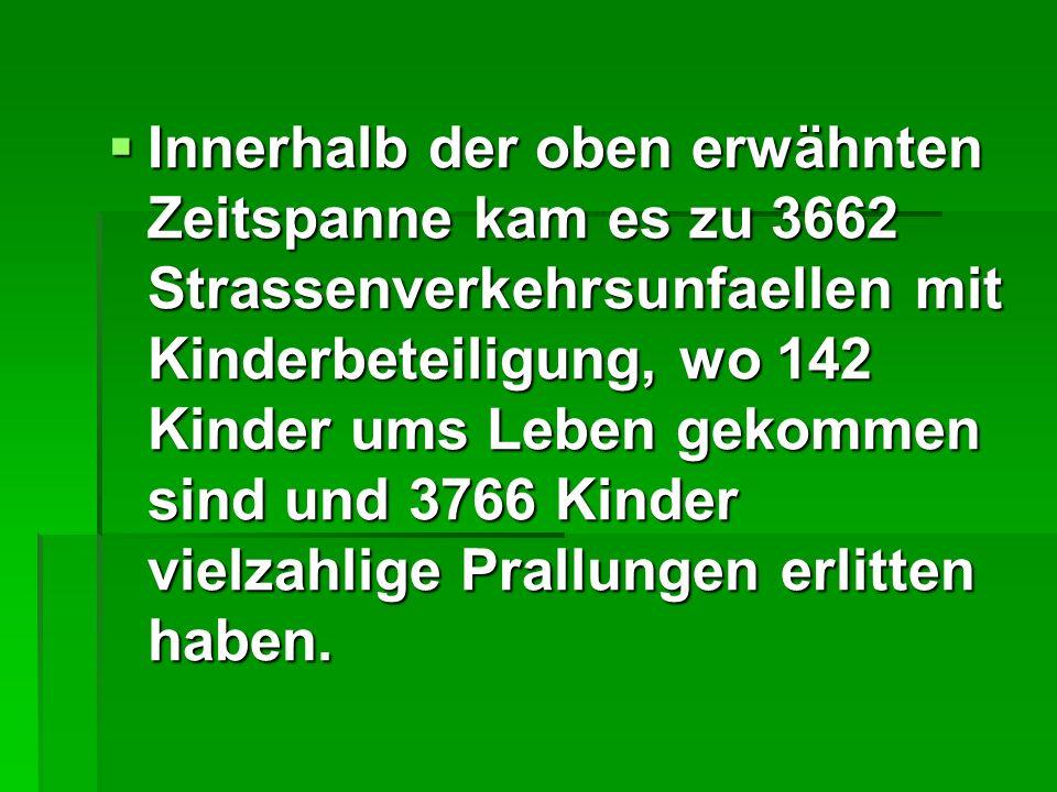 Innerhalb der oben erwähnten Zeitspanne kam es zu 3662 Strassenverkehrsunfaellen mit Kinderbeteiligung, wo 142 Kinder ums Leben gekommen sind und 3766 Kinder vielzahlige Prallungen erlitten haben.