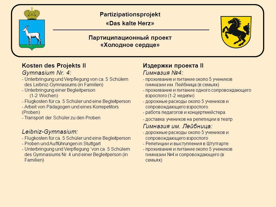 Kosten des Projekts II Gymnasium Nr.4: - Unterbringung und Verpflegung von са.