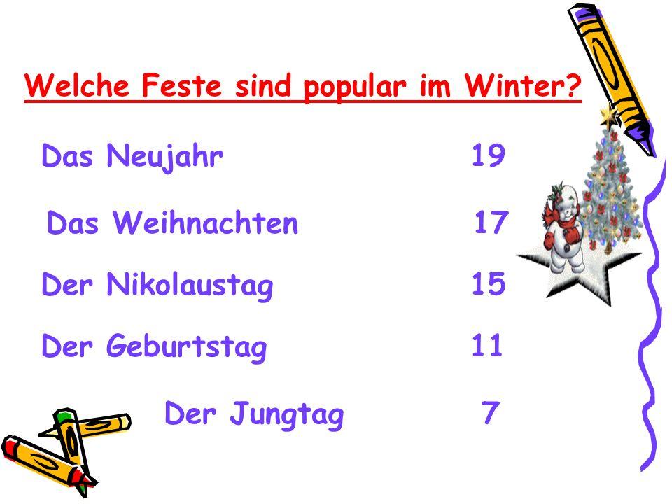 Welche Feste sind popular im Winter? Das Neujahr 19 Das Weihnachten 17 Der Nikolaustag 15 Der Geburtstag 11 Der Jungtag 7